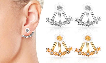 One or Two Pairs Philip Jones Daisy Earrings with Crystals from Swarovski®