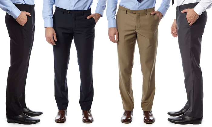 Alberto Cardinali Men's Dress Pants in Extended Sizes