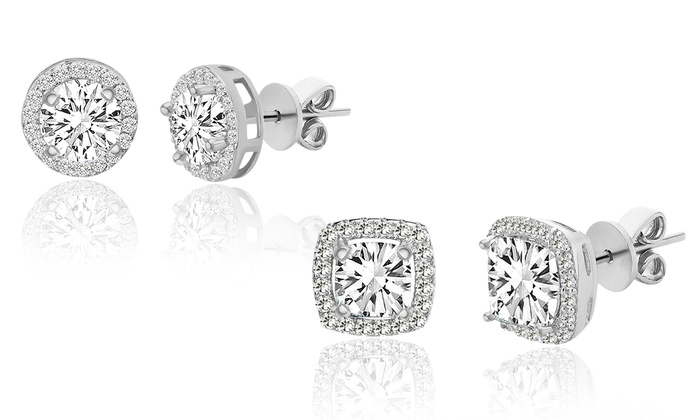 Sterling Silver Halo Stud Earrings Set With Swarovski Crystals By Angélique Paris