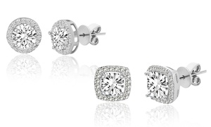 Stud Earrings Set with Swarovski Crystals by Angélique Paris
