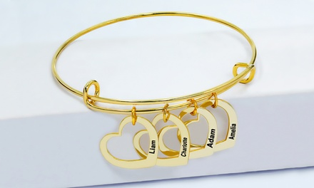 Gold or Silver-Plated Family Heart Charm Bracelet from MonogramHub (Up to  80% Off)