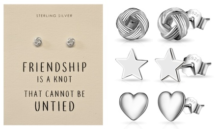 One, Two or Four Pairs of Philip Jones Sterling Silver Quote Earrings