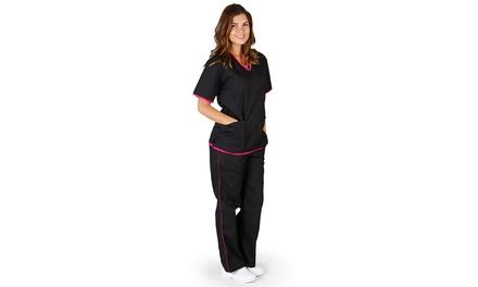 Natural Uniforms Women's Contrast-Trim Scrub Set (2-Piece) (Size XL)