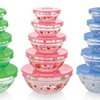 Glass Bowl Sets with Multicolored Print (10-Piece)
