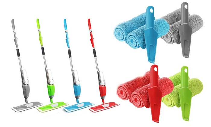 Spray Mop with Two Microfibre Pads and Scraper