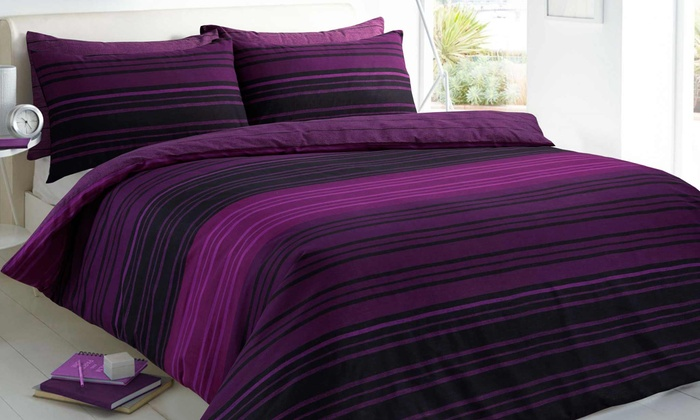 Pieridae Textured Stripe Duvet Cover Set in Choice of Colour and Size from £9