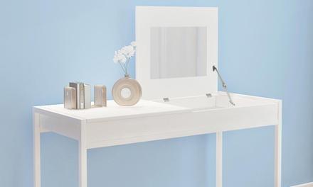 Luxe witte kaptafel met spiegel voor € 79,99
