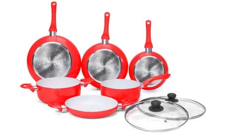 Batería de cocina de 3 sartenes y 3 cacerolas con recubrimiento cerámico más 2 tapas