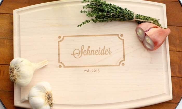 The Plaid Barn: One or Two Personalized Cutting Boards from The Plaid Barn (Up to 53% Off)