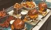Burger mit Beilagen-Mix & Dessert