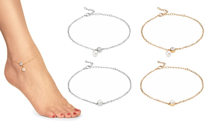 Groupon Goods Global GmbH: One or Two Philip Jones Pearl Ankle Bracelets Made with Crystal from Swarovski®
