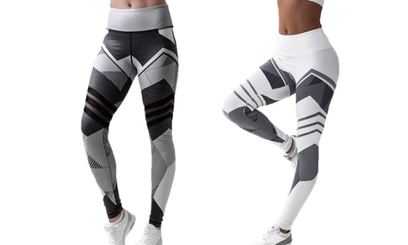 1 ou 2 leggings pour femme fitness imprimés géométriques