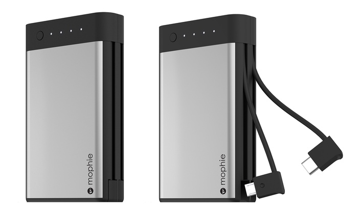 new style 37c6a 57b87 Mophie 10,500 mAh Portable Power Bank with Built-In Type-C and Micro-USB  Cables