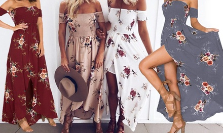 Floral OffShoulder Maxi Dress