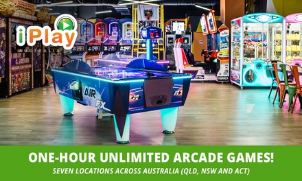 1 Hour of Unlimited Arcade Games: 1 $9, 2 $18, 4 $36 or 6 Ppl $54 at iPlay Australia, 7 Locations Up to $300