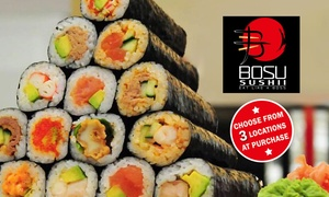 Bosu Sushii: Bento Box or 4 Sushi Rolls and Bottle of Water for One ($10) or Two People ($19) at Bosu Sushii, Three Locations