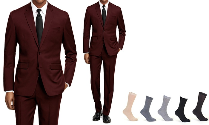 8dfc0e1318 Braveman Men's 2-Piece Slim Fit Suit with Free Socks (Size 34Sx28W ...