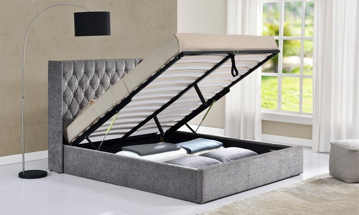 Ottoman Diamante Button Bed Frame with Optional Mattress