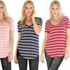 Lyss Loo Women's V-Neck Striped Tunic Top