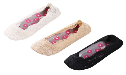 ThreePack of Women's NonSlip Lace Short Socks: One $12.95 or Two $19
