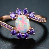 Fire Opal and Violet Cubic Zirconia Swirl Bridal Ring by Peermont