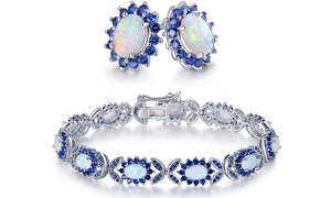 Fire Opal and Blue Sapphire Earrings and Bracelet Gift Set
