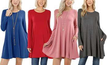 Women's Long Sleeve Swing Tunic with Side Pockets
