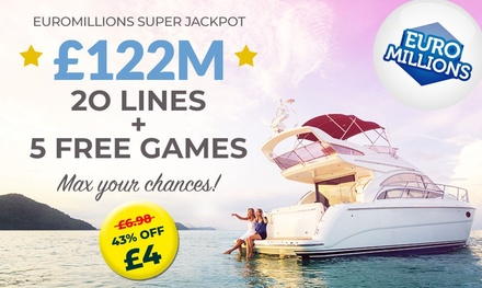 20 or 60 Syndicated EuroMillions Lines, Millionaire Makers and Instant Win Games at Lotto Social