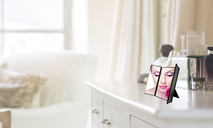 Tri Sided Foldable Make Up Mirror Groupon Goods