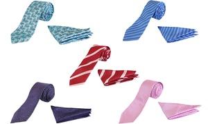 Men's Slim-Tailored Tie and Pocket Square Set