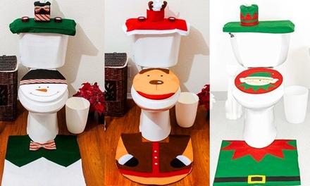 ChristmasThemed Toilet Decoration Set: ThreePiece $19 or SixPiece $35