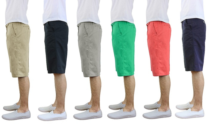Men's Cotton Belted Flat-Front Shorts | Groupon