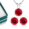 3.00 CTW Sterling Silver Ruby Necklace and Earrings Set by Muiblu Gems