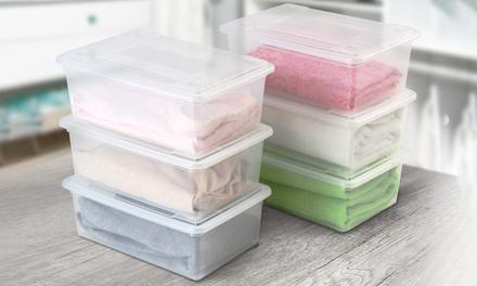 6er-Set Plastikboxen mit Deckel für Schuhe u. a. (bis zu 33% sparen*)