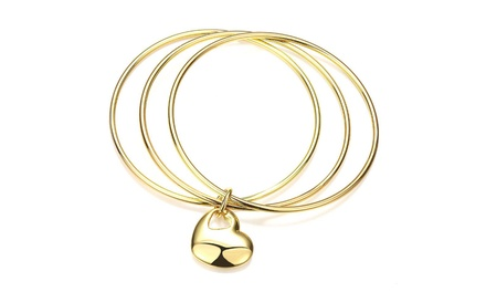 18K Gold Plated Heart Pendant Triple Bangle