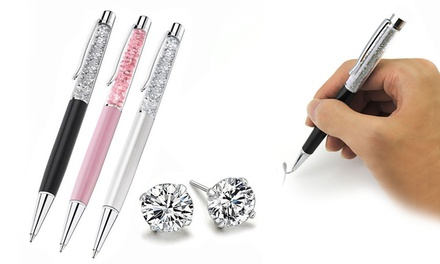 :Penna e orecchini con cristalli / Argento