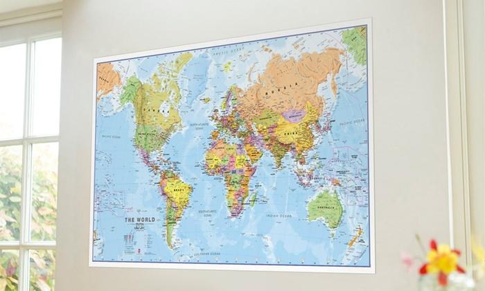 Poster mappa del mondo laminata groupon goods for Weltkarte poster ikea