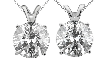 1.00, 1.25, 1.50, or 2.00 CTTW Diamond-Solitaire Pendants in 14K White Gold from $499.99–$1,299.99