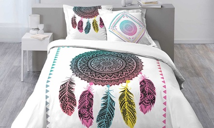 Ensemble linge de lit avec une housse de couette imprimée, 1 ou 2 taies doreiller et un drap housse uni