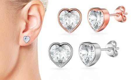 one, two or three bezel heart earrings sets with crystals from swarovski®