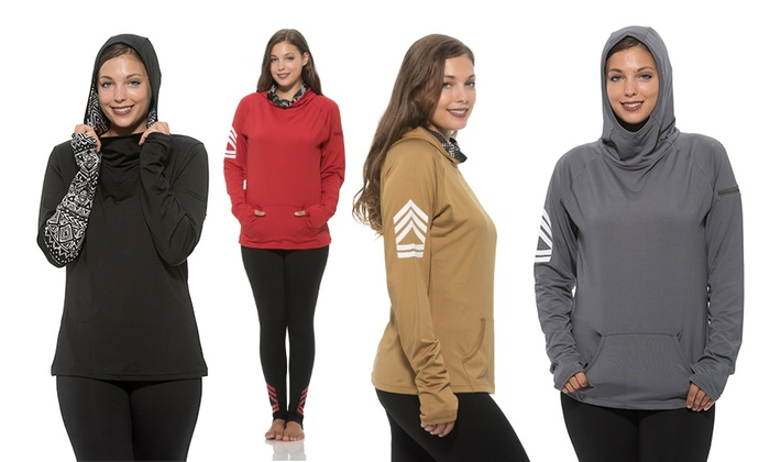Women's Moisture-Wicking Cowl Neck Hoodie in Standard or Plus Sizing