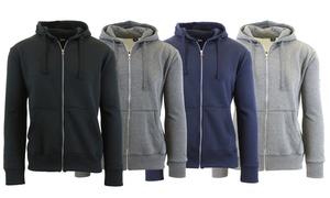 Men's Fleece-Lined Zip-Up Hoodie Sweatshirt (2-Pack)