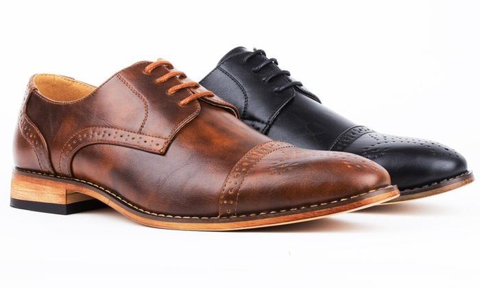Signature Men's Cap Toe Brogue Lace-up Dress Shoes