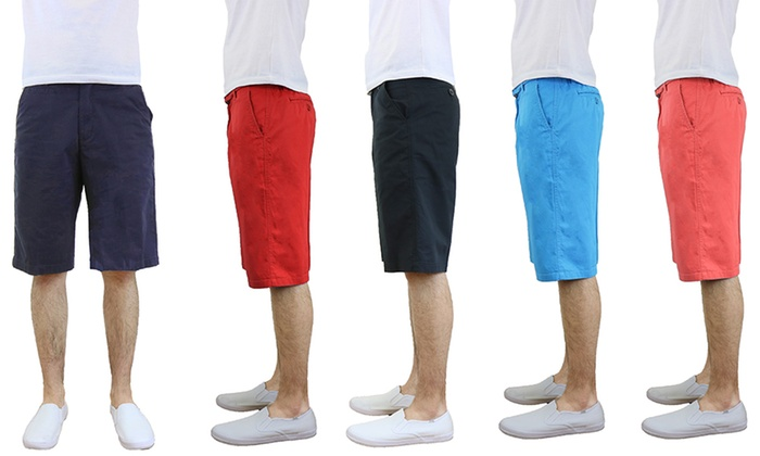 Men's Belted Flat-Front Cotton Shorts | Groupon
