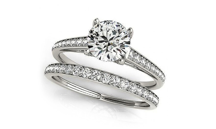 3.64 CTTW Engagement Ring Set Made with Swarovski Elements Crystals  (2-Piece)
