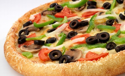 $15 for Two Medium Two-Topping Pizzas, Cheese Bread, and 2-Liter Soda at Hungry Howie's Pizza ($26.75 Value)