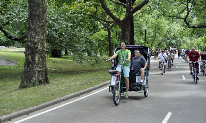 Peter Pan Tours Of Central Park - In Front of Green Cafe: Central Park Pedicab Tour for Two or Three Adults from Peter Pan Tours Of Central Park (Up to 53% Off)