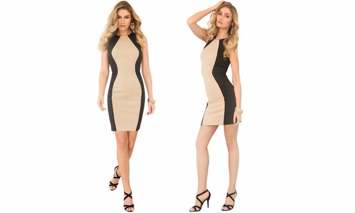 Rene Women's Slimming Colorblock Dress: Rene Women's Slimming Colorblock Dress (Size S)