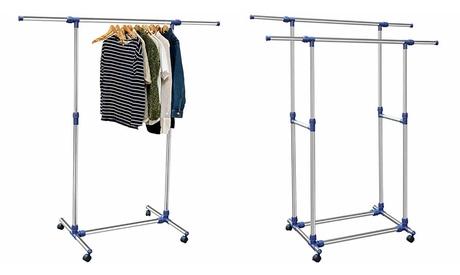 Stand appendiabiti con ruote e aste allungabili in acciaio disponibile in 2 modelli