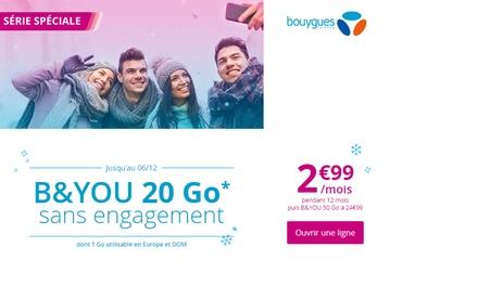 Bouygues Telecom : forfait sans engagement 20 Go d'internet (dont 1 Go en Europe) à 2,99€/moispendant 12 mois